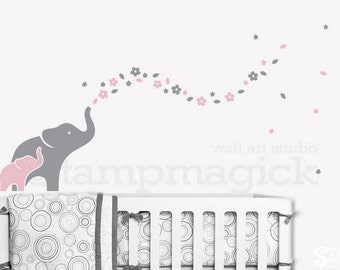 Elephants Wall Decal for Nursery with Flowers - Elephant Wall Art - Elephant Decor - Elephant Sticker - Vinyl Decal Baby Girl Room - K342