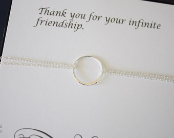 2 Bridesmaid Karma Bracelet, Infinity Jewelry, Best friend Gift, Thank You Card, Sterling Silver  Bracelet