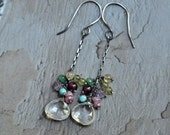 Clear Quartz Drop Earrings - Boho Earrings - Mixed Stone Cluster Earrings - Multicolor Earrings - Oxidized Sterling Silver Dangle Earrings
