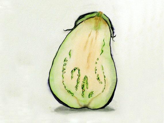 1. Vegetable Kitchen Art PRINT / Still life watercolor painting / Eggplant drawing artwork Wall décor fruit illustrations / Botanical art