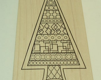 Geometric Christmas Tree Wood Mounted Rubber Stamp By Outlines Rubber Stamp