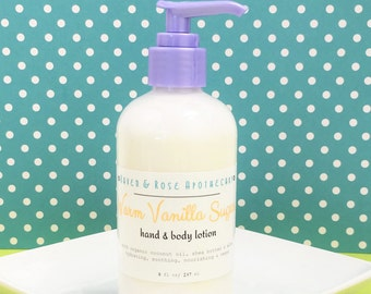 WARM VANILLA SUGAR Hand and Body Lotion // Vegan - Organic Coconut Oil and Shea Butter - No Parabens or Sulfates - 8 ounces