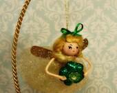 St Patricks day decor St Patricks day ornament Irish girl Irish fairy pixie clover shamrock gold green vintage retro inspired ooak art doll