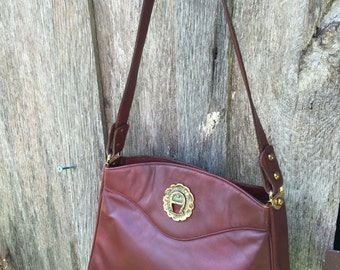 Vintage Maroon Leather Etienne Aigner Purse/Handbag with Shoulder Strap