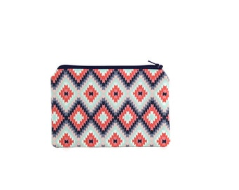 Tribal Zipper Pouch / Coral and Teal Patterned Wallet / Cute Make Up Bag Modern Collection