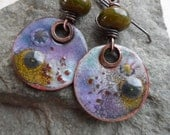 RESERVED Out of this World ... Copper Enameled Charms, Lampwork and Copper Wire-Wrapped Rustic, Boho, Earthy Earrings
