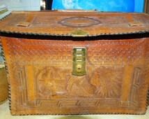 Vintage 1960's Aztec Brief hand tooled leather Portfolio Briefcase Mexico Attache Texana style Texas Southwest design retro Texan fashion