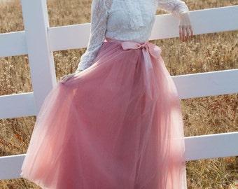 Womens Full lengthTutu, Rose Pink Tulle skirt,  Mauve Pink tutu, long tulle skirt, ballet skirt, bridesmaid dress,  wedding skirt, Plus size