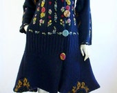 ON SALE Upcycled Sweater Coat/ Size Small 8-10/Navy Blue / Floral Embriodery/Boho/Brendaabdullah