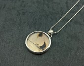 Foliage- Sterling silver and dendrite quartz pendant- One of a kind.