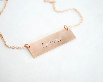 Custom Rose Gold Bar Necklace - 14K Gold Fill, Personalized