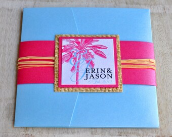 Pocket Fold Wedding Invitation Design Fee (Light Blue and Pink Palm Tree Design with Japanese Cane Paper and Raffia)