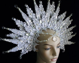 The Snow Queen - Halo Headdress of Lace, Swarovski crystal and Chandelier drops.  - To order