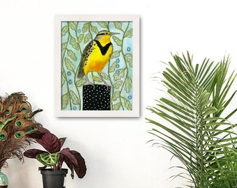 Meadowlark, Bird Prints, Yellow Bird, Animal Print Art, Watercolor, Patterned Background, Audubon
