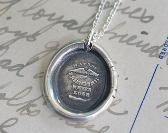friendship wax seal necklace - rebus wings and feather wax seal - the wings of friendship - best friend gift - antique wax seal jewelry