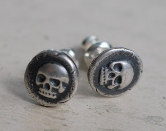 skull earrings - skull studs - skull wax seal earrings - sterling silver skull post earrings - memento mori - antique wax seal jewelry
