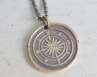 bronze compass pendant - compass wax seal necklace … guidance, direction, navigation - nautical bronze wax seal jewelry