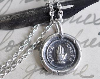 heart in hand wax seal necklace - love, truth - friendship - best friend gift - silver Victorian trinket wax seal jewelry