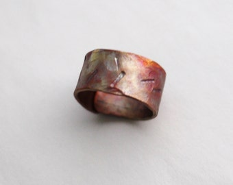 Copper Ring Band Repurposed Oxidized Hammered Stamped Metal Pinky size 4.75 by Hendywood RE17