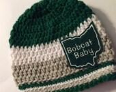 Baby // Crochet Hat // Ohio University // Team Color // Scarlet, Grey // Handmade // Bobcat Baby