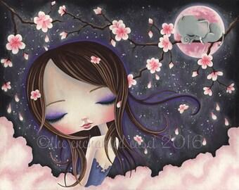 Cherry Blossoms, Print, Girls Room, Elephant, Moon, Nursery Art, Girls Wall Art, Pink Clouds, Beautiful Girl, Sakura, Sky, Whimsical
