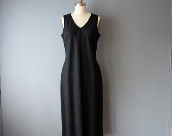 vintage 90s dress / black tunic dress / linen dress / M
