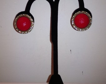 Vintage Lucite Earrings Red Domed Cabochon with Clear Rhinestones SB Screw Back