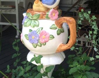 Garden Yard Art Teapot Bluebird
