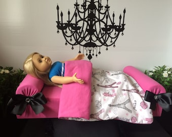 """Doll Bed for American Girl Journey My Generation 18"""" Doll LaLaLoopsie Barbie DoG Teddy Bear PaRiS Bedding Quilt CuStOm So Zoey Boutique SALE"""