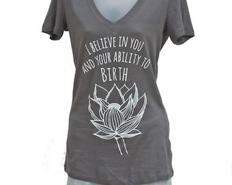 Lotus Flower Birth Affirmation V-Neck T-Shirt Top in Gray *RUNS SMALL*