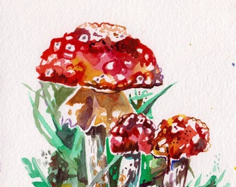 Mushroom Painting - Original Watercolor Art of a Red Mushroom - Painting by Jen Tracy