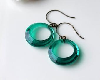 Emerald Green Earrings, Retro Hoop Earrings, St Patricks Day, Vintage Hoops Green Hoop Earrings