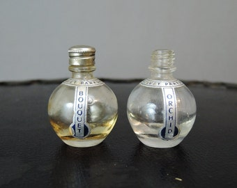 40s Vintage Miniature Perfume Bottles Orchid & Bouquet by Velvet Parfums - empty bottles, 1940s Perfume