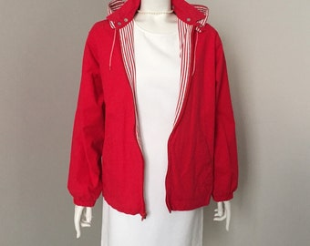 Vintage Nautical Red and White Striped Cotton Casual Jacket with Removable Hood M