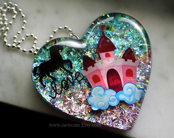 Pink Blue Cotton Candy Unicorn Necklace, Statement Jewelry Resin Glitter Heart Unicorn Castle 80's Inspired Gift for Her Handmade isewcute