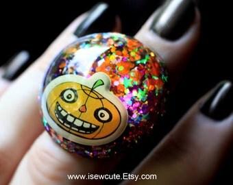 Halloween Jewelry, Jack O' Lantern Pumpkin Ring, Big Shiny Orange Black Halloween Statement Ring, Costume Accessory Handcrafted by isewcute
