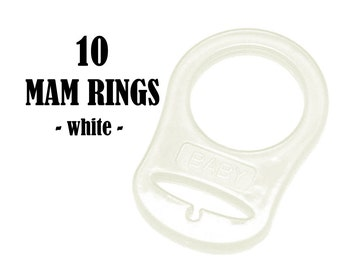 10 White Clear MAM Silicone Ring Adapters . button style pacifier silicone ring attachment. food grade silicone paci holder adapter. #293308