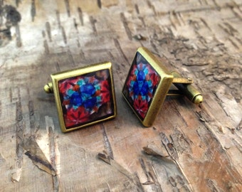 Square red blue cufflinks - Kaleidoscope photograph - Antique Bronze - Fractal Mandala inspired - OOAK - Jewel stained glass