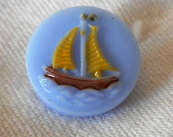 VINTAGE Small Blue Glass Painted Sailboat Childrens BUTTON