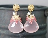 Rose Quartz Earrings, Umba Pink Sapphire, Ethiopian Opal gemstone cluster, Vermeil ear posts ...  GRANIA Earrings