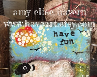 Little Sheep original painting HAVE FUN 4x4
