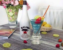 Miniature Malibu RUM Bottle and Mali-Blue Cocktail with Fruit, Ice, & Straw - Realistic Drink for 1:6 Scale Fashion Dolls and Action Figures