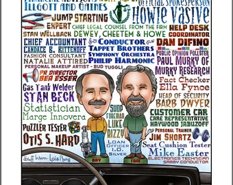 Click and Clack the Tappet Brothers- Car Talk signed tribute print