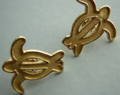 RESERVED for Ritsa Solid 14KT Gold Earrings Sea Turtles Hawaiian Honu New in Box Vintage 90s