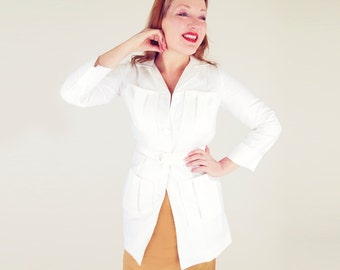 70s White Canvas Safari Jacket with Belt S