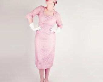 50s Pink Lace Sheath Dress by Ferman-O'Grady L