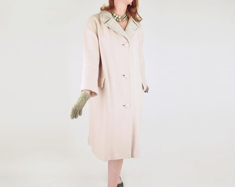 60s Beige Wool Coat with Green Tweed Collar XL Plus