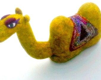 Sitting Camel - Needle Felted - Soft Sculpture - Wool Animal - Table Top Decor - Bookshelf Decor - India Decor - Needlefelt Camel