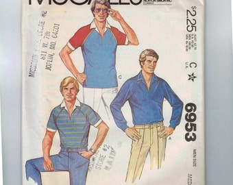 1980s Vintage Sewing Pattern McCalls 6953 Mens Stretch Knit Polo Shirt Raglan Sleeves Size Medium or Small Chest 38 40 or 34 36 1980 80s