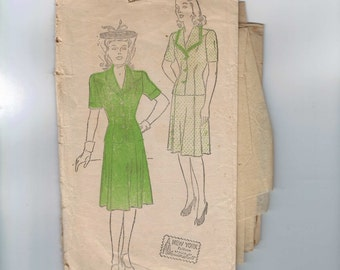 1940s Vintage Sewing Pattern New York 622 Misses Two Piece Dress Suit Size 16 Bust 34 1940s